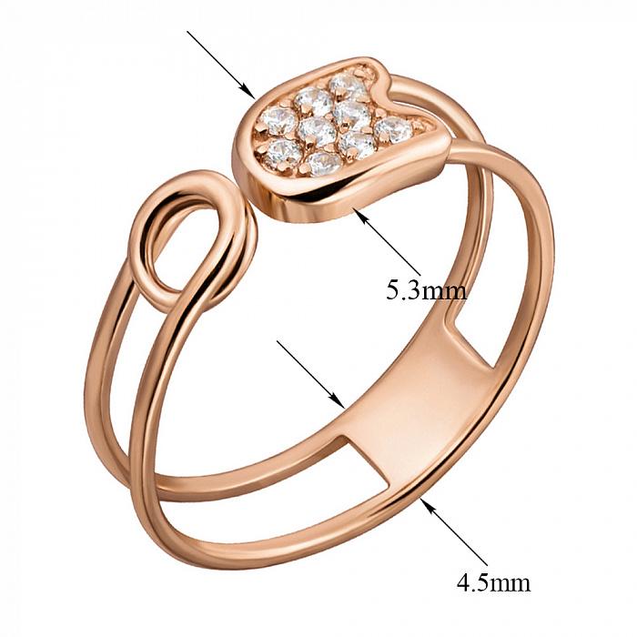 Кольцо-булавка из красного золота с фианитами 000133153 000133153