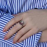 Серебряное кольцо Плавающие камни с малиновыми фианитами