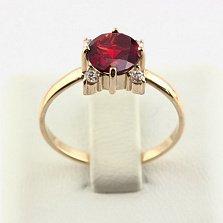 Золотое кольцо с гранатом и фианитами Ванда