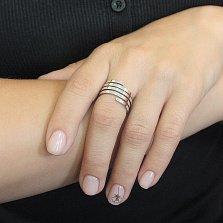 Серебряное кольцо Спираль в пять рядов