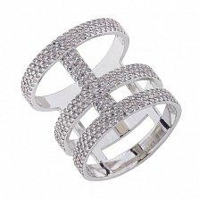Серебряное кольцо Корсет с цирконием
