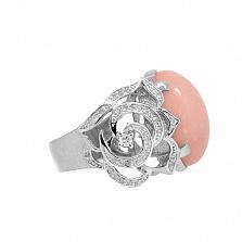 Золотое кольцо в белом цвете с розовым опалом и бриллиантами Хайди