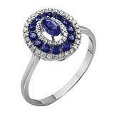 Золотое кольцо Анджали в белом цвете с сапфирами и бриллиантами