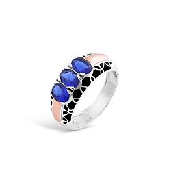 Серебряное кольцо Гульмира с золотой накладкой, синим альпинитом и черной эмалью