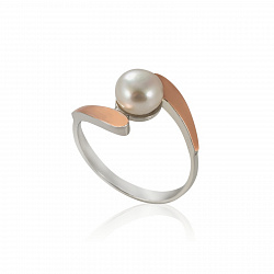 Серебряное кольцо Линда с золотыми накладками и жемчугом