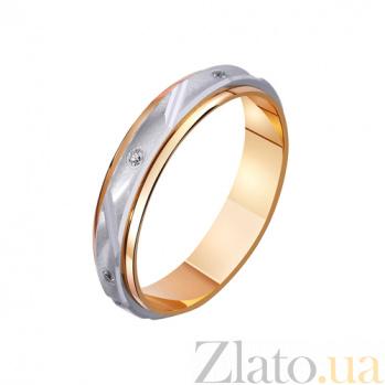 Золотое обручальное кольцо Душа в душу с фианитами TRF--422785