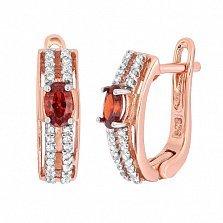 Позолоченные серебряные серьги с красными фианитами Шеннон