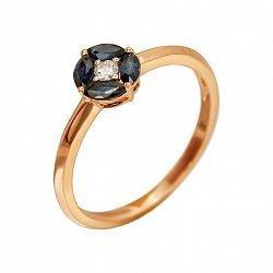 Кольцо из красного золота Мэнди с бриллиантом и сапфирами