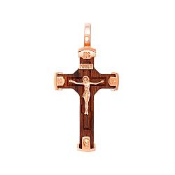 Крестик из красного золота и дерева 000145909