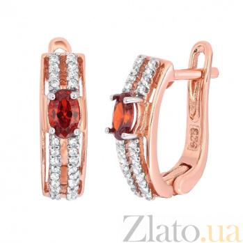 Позолоченные серебряные серьги с красными фианитами Шеннон SLX--СК3ФГ/339