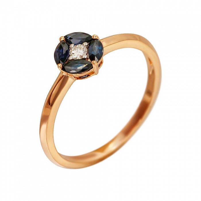Кольцо из красного золота Мэнди с бриллиантом и сапфирами 000080916
