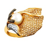 Кольцо из желтого золота Морские сокровища с жемчужиной и фианитами