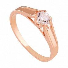 Золотое кольцо с фианитом Трогательное признание