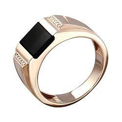 Перстень-печатка из красного золота с цирконием и ониксом 000129155