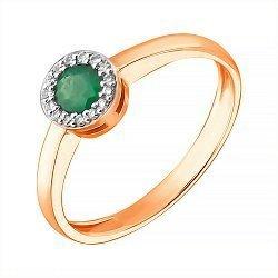 Золотое кольцо с изумрудом и бриллиантами  000053014