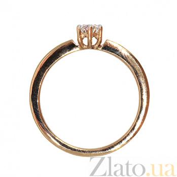 Золотое кольцо в красном цвете с бриллиантом Халия 000021425
