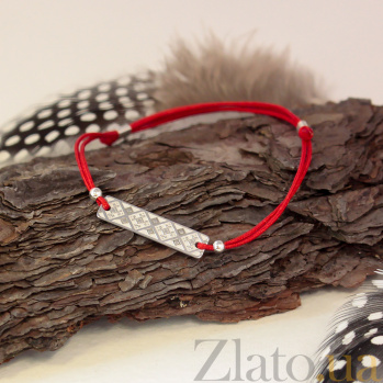 Красный шелковый браслет Вышиванка с частично матированной узорной серебряной вставкой 000079994