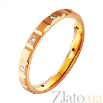Золотое обручальное кольцо с фианитами Нежный поцелуй TRF--412848