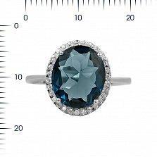 Серебряное кольцо Симона с синим синтезированным кварцем и фианитами