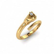 Кольцо из красного золота Пяточка младенца с бриллиантом