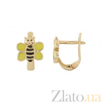 Золотые серьги с эмалью Пчелки 2С220-0429