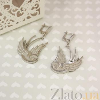 Серебряные родированные серьги-подвески Влюбленные ласточки 000082810