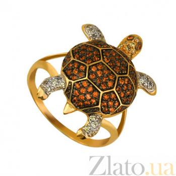 Золотое кольцо Черепашка в комбинированном цвете с фианитами микс VLT--ТТ1047-1