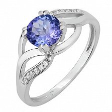 Серебряное кольцо Унисон с голубым кварцем и фианитами