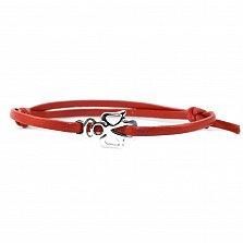 Кожаный браслет с серебром Angel Red с чернением