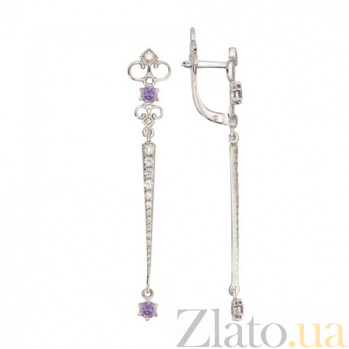 Серьги подвески с белым и фиолетовым цирконием Камилла VLT--ТТ2446
