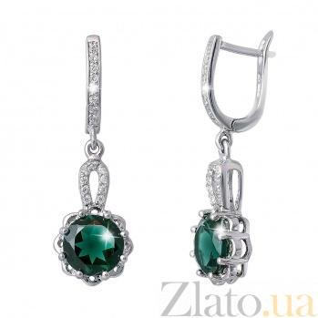 Серебряные серьги с зеленым кварцем Валенсия AQA--E02214Qg