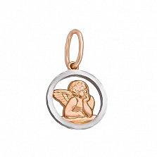 Золотой подвес Задумчивый ангелочек в красном цвете с родированием