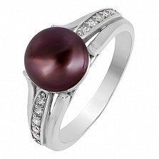 Серебряное кольцо Паж с черным жемчугом и фианитами