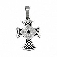 Серебряный крест с эмалью чёрного цвета Казацкий