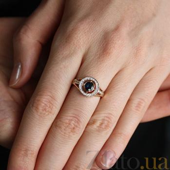 Золотое кольцо Елизавета в комбинированном цвете с бриллиантами и сапфиром VLA--13411