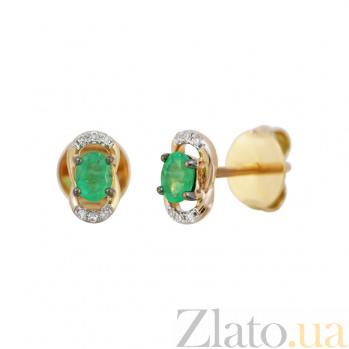 Золотые серьги с изумрудами и бриллиантами Марселина 000032326
