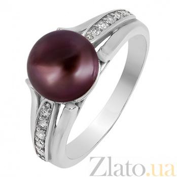 Серебряное кольцо Паж с черным жемчугом и фианитами 000027354
