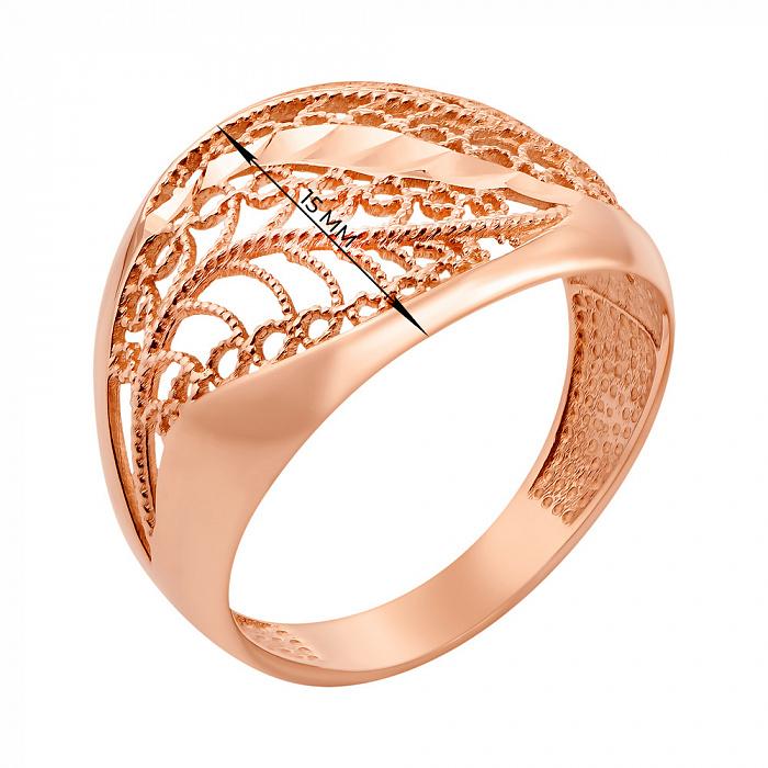 Каблучка з червоного золота з алмазною гранню 000133084