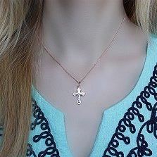 Золотой крестик Небесный покровитель с алмазной насечкой