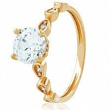 Золотое кольцо с кристаллами Swarovski Евгения