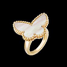 Перламутровое кольцо из желтого золота с бабочкой Alhambra