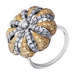 Серебряное кольцо с желтыми, белыми фианитами и позолотой 000132911