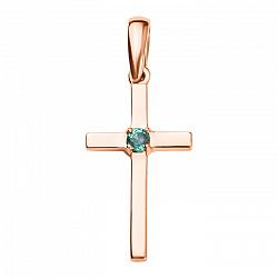 Золотой декоративный крестик Урами с изумрудом