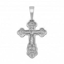 Серебряный крестик Слава Господня с молитвой на тыльной стороне