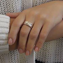 Серебряное родированное кольцо Сабрина с закругленной шинкой и буквами в стиле Тиффани