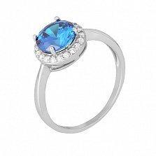 Серебряное кольцо Рашель с фианитом цвета лондон топаза