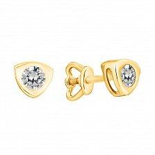 Золотые серьги-пуссеты Триллион в желтом цвете с белыми фианитами