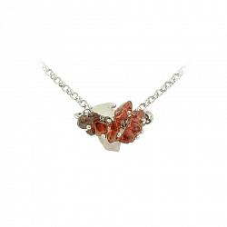 Серебряное колье Эльнара с родолитами и розовым кварцем 000016583