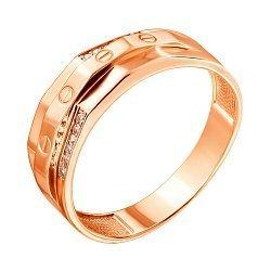 Перстень-печатка из красного золота с цирконием 000122301