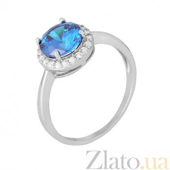 Серебряное кольцо Рашель с фианитом цвета лондон топаза 000028340